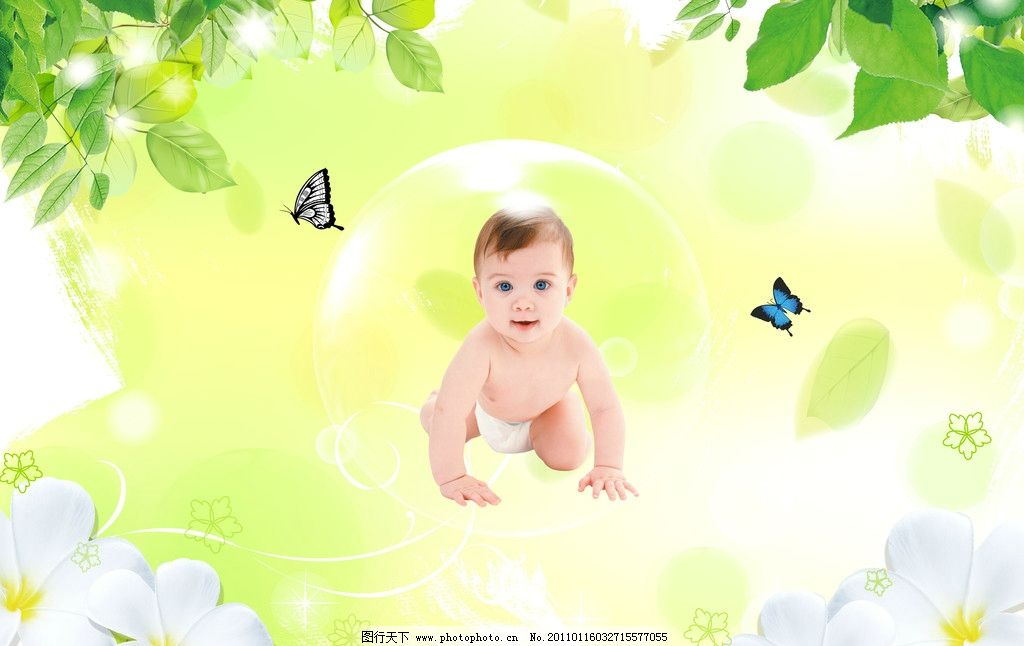 宝宝 乖宝宝 可爱宝宝 小宝宝 调皮宝宝 背景 树叶 蝴蝶 水珠 花 花卉