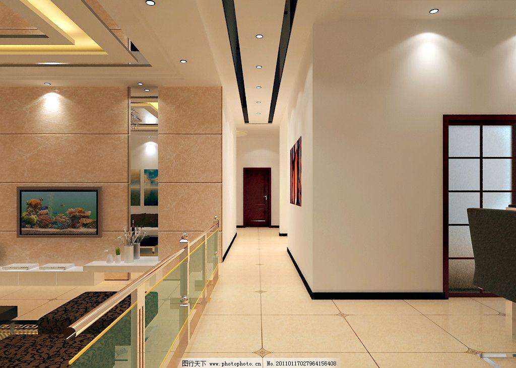 走廊效果图 大理石 镜子 地板砖 吊顶 走廊 电视背景墙 室内设