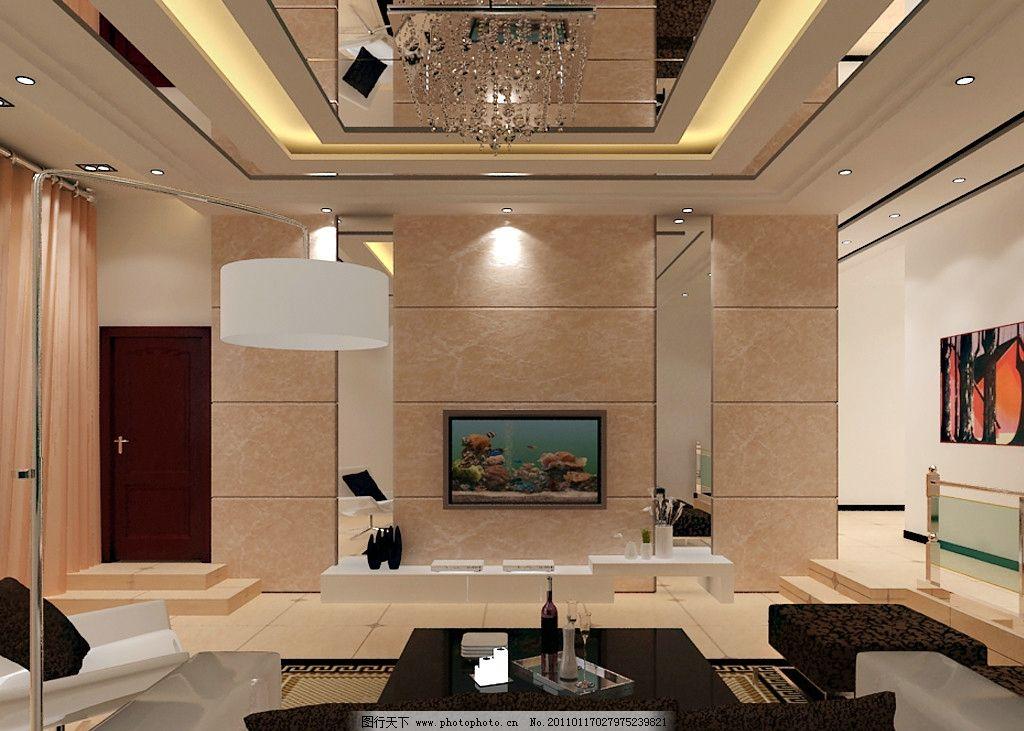 客厅效果图 大理石 镜子 地板砖 吊顶 走廊 电视背景墙 室内设计 环境