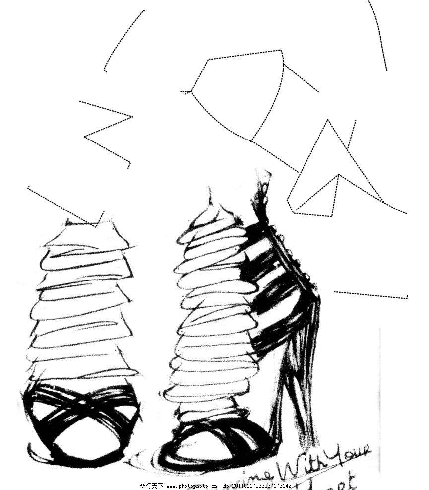 高跟鞋素描图片