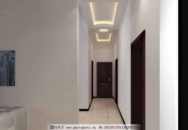 走廊效果图模板下载 走廊效果图 吊顶 灯带 地板砖 室内设计 环境设计