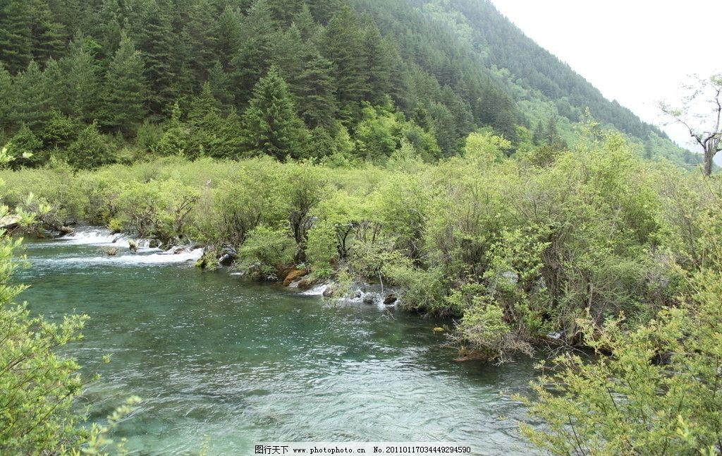 九寨沟 流水 青山 旅游 风景 山水风光 自然风光 静谧 大自然 绿色