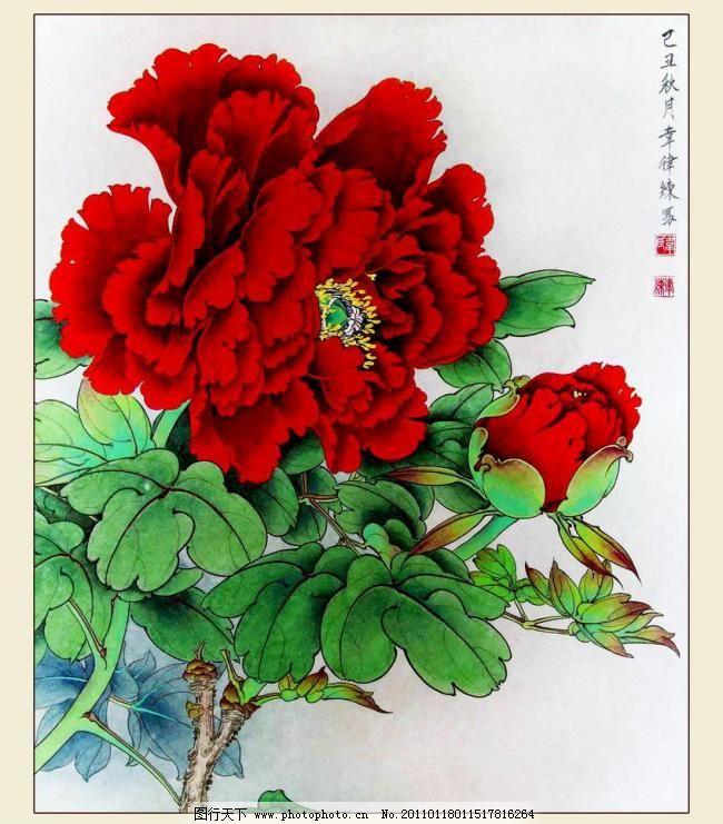红牡丹图片免费下载 炷档ど杓扑夭 装饰素材 印章设计|雕刻图案