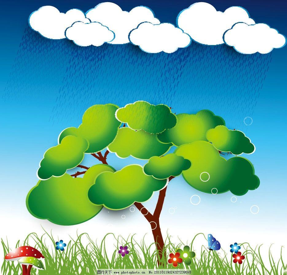 绿色自然大树蘑菇 卡通 手绘 绿色 自然 蘑菇 绿叶 花朵 水滴 水珠