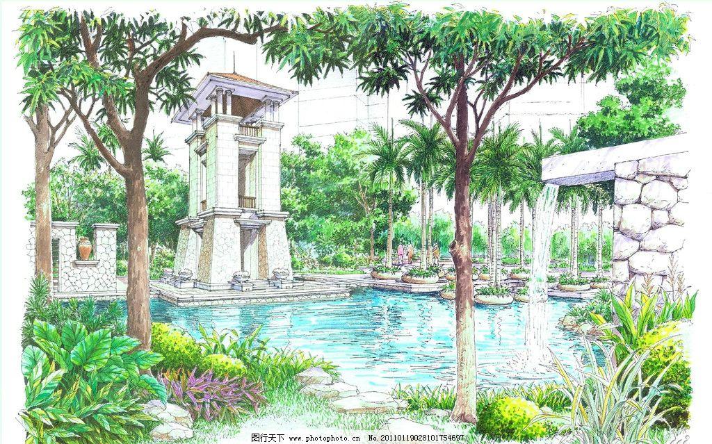 园林景观设计 公园景观 景观园林 景观规划 环境设计 湖水 树木 植物