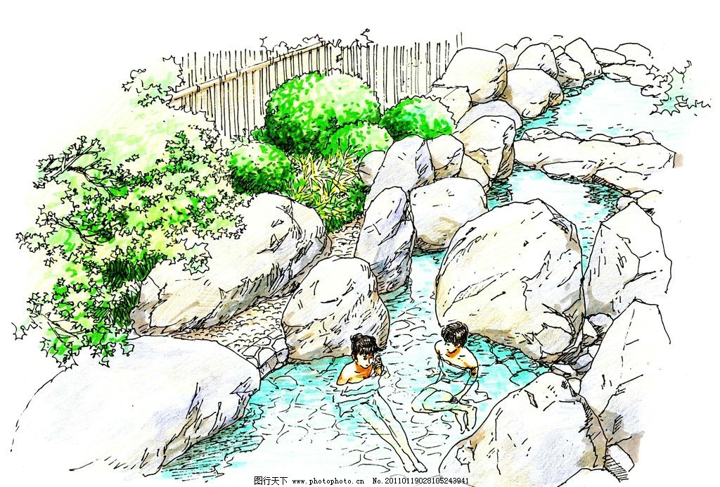 园林景观设计 公园景观 景观园林 景观规划 环境设计 温泉 假山 设计