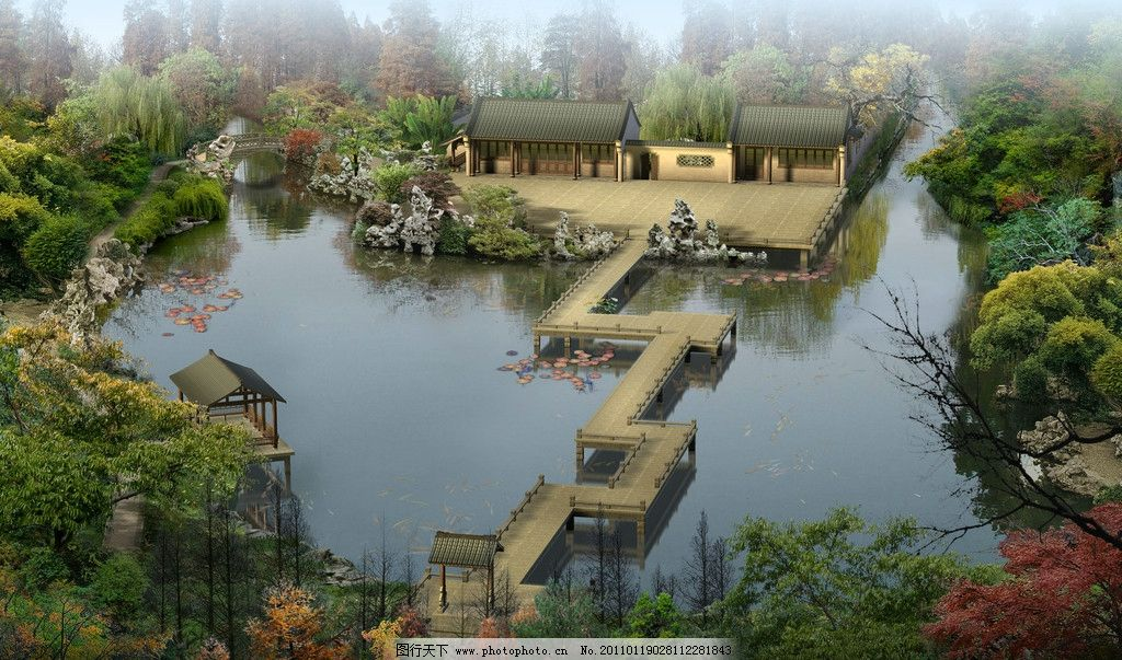 湖中宅院 古建筑        景观 园林 三维 中式古建筑效果图 景观设计