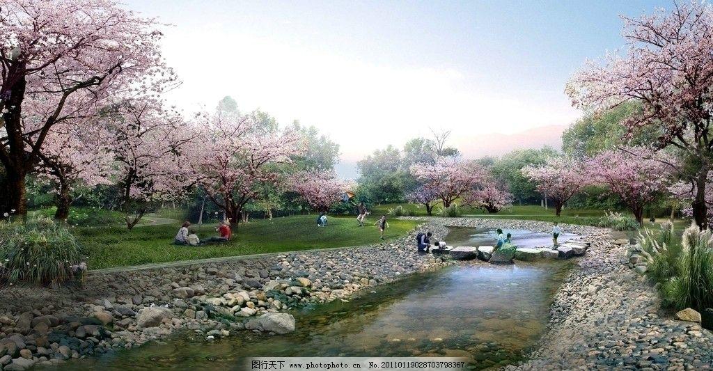桃花园林景观广告素材图片_园林设计_环境设计_图行