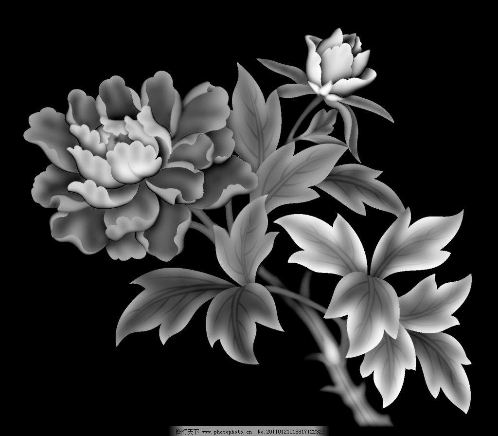 牡丹 灰度 屏风 浮雕图 精雕 雕花 雕刻 实木雕花 传统 艺术