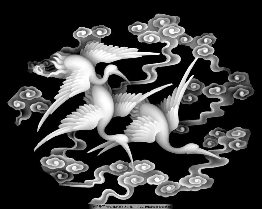 仙鹤 灰度 屏风 浮雕图 精雕 雕花 雕刻 实木雕花 传统 艺术