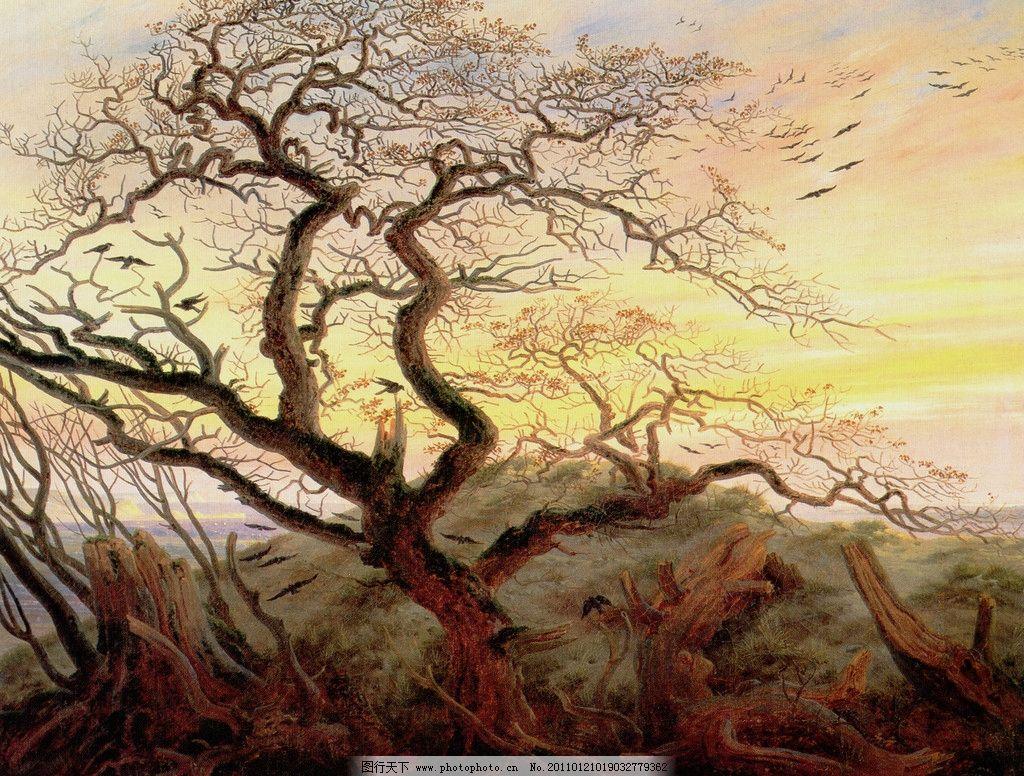油画老树 油画 老树 树 乌鸦 黄昏 树根 风景油画 天空 世界名画 绘画