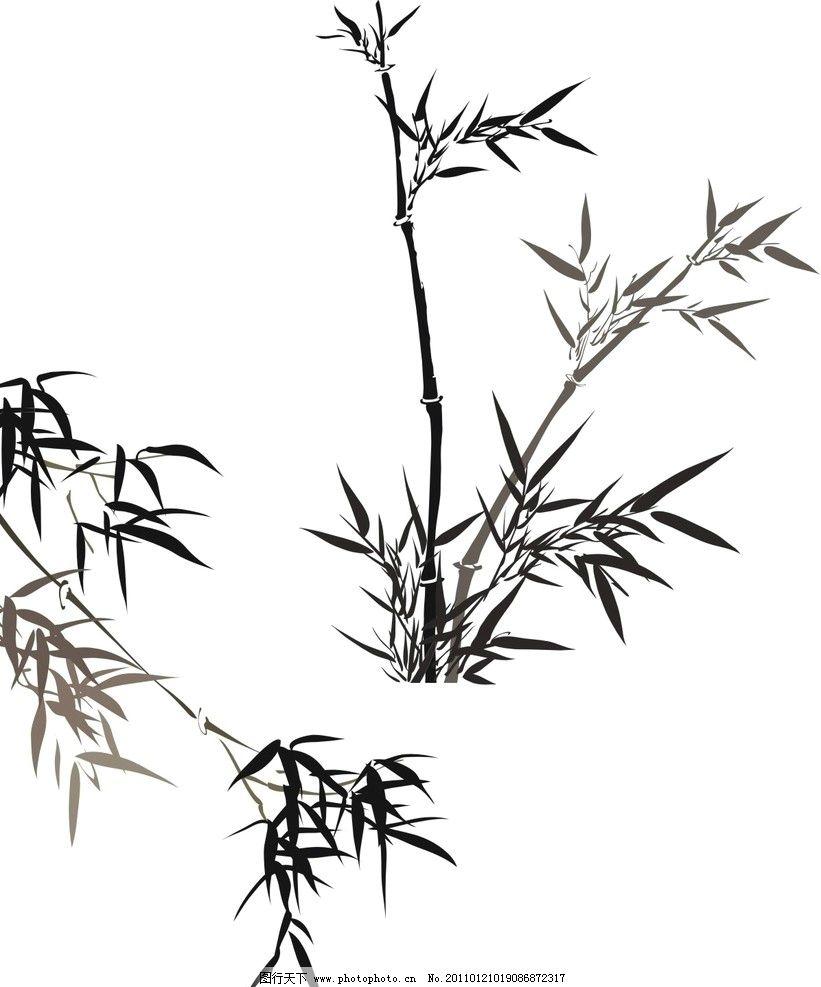 竹子 水墨黑白竹子 美术绘画 文化艺术 矢量 cdr