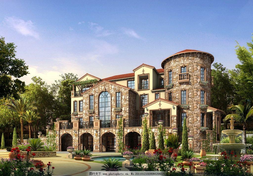 建筑 别墅 天空 树 背景 柏树 喷泉 灌木 伞 花 铺地 建筑设计 环境