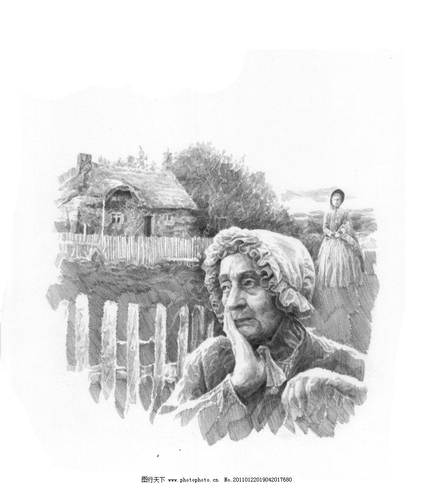 素描 素描场景      肖像 人物 老外 线描 线稿 线条 人头像 大师作品