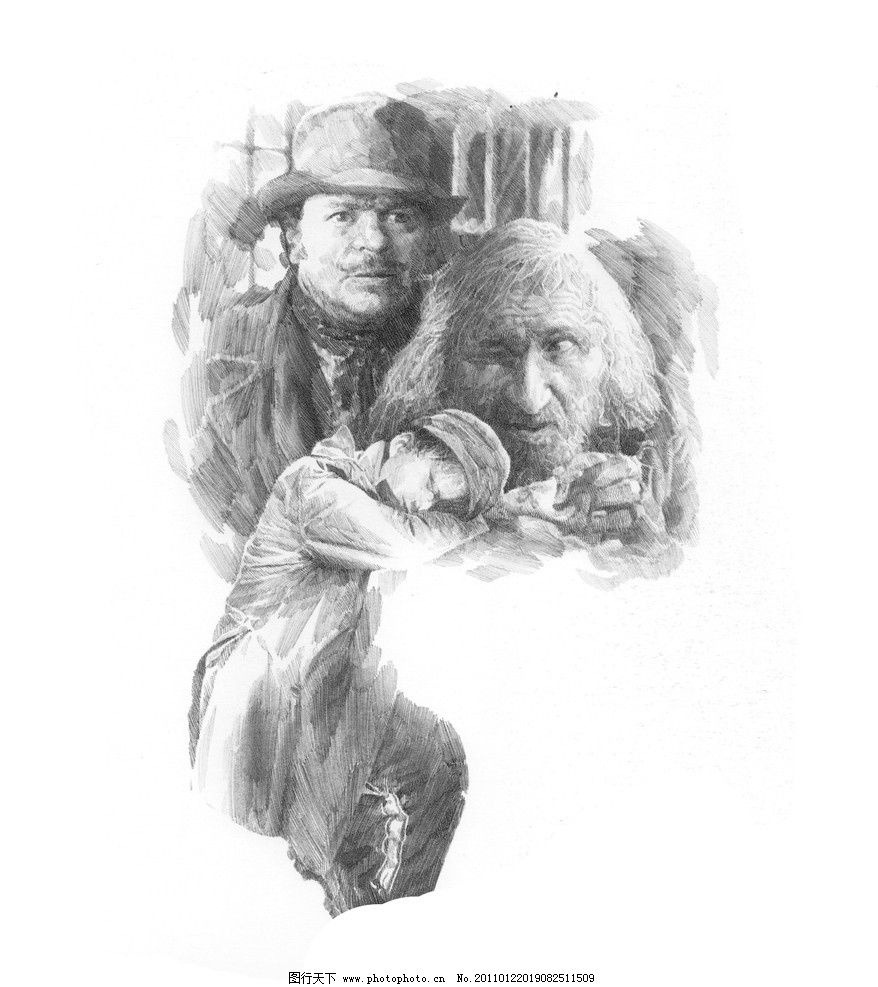 场景素描 经典素描 素描头像 头像素描 素描场景 肖像 人物 老外