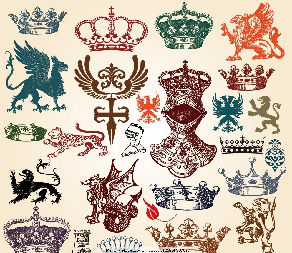 古典花纹花边边框装饰素材 皇冠 怪物 豹子 城堡 装饰花纹花边