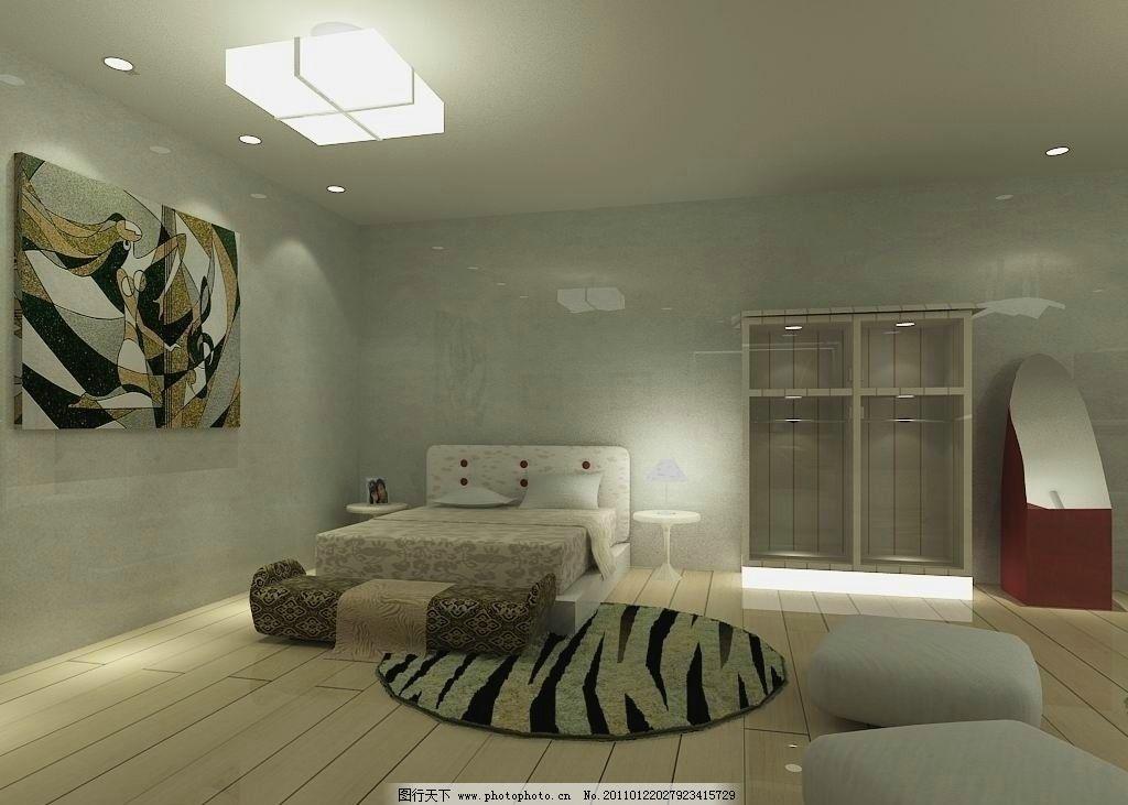 休息区 室内设计 休息 睡房 床 壁画 镜子 衣柜 光域网 vray 环境设计