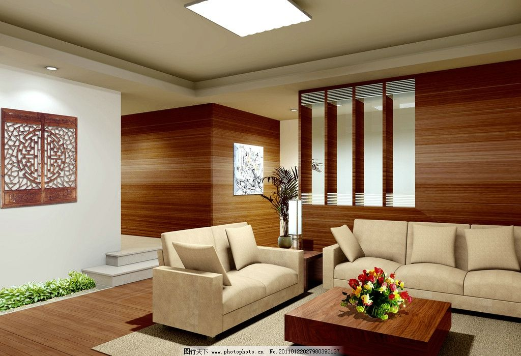 客厅 客厅效果图 沙发 茶几 壁挂 木地板