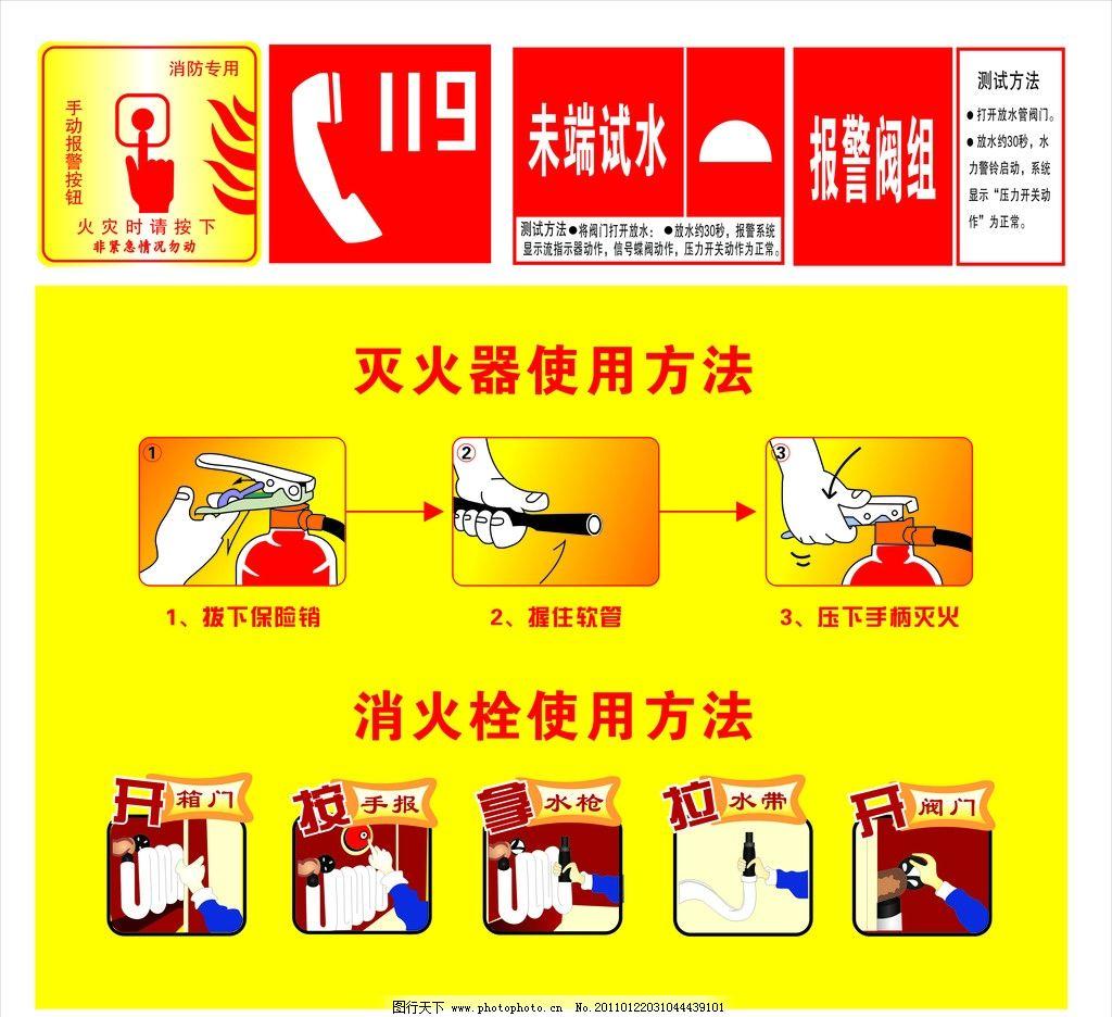灭火器使用方法 灭火栓使用方法 灭火器 灭火栓 消防 消防标识 119