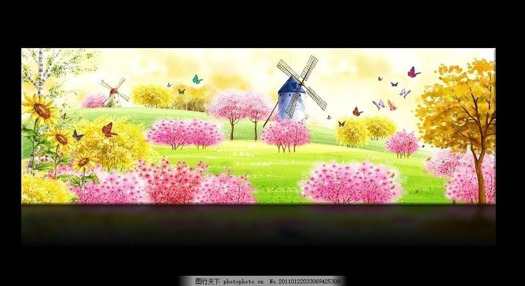 春天桃花林无框画 水彩画 手绘 水粉画 蝴蝶 冬天 圣诞树 挂画