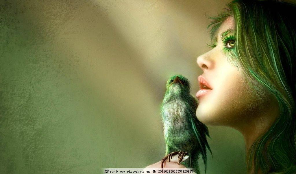 绿色 手绘 鸟 美女
