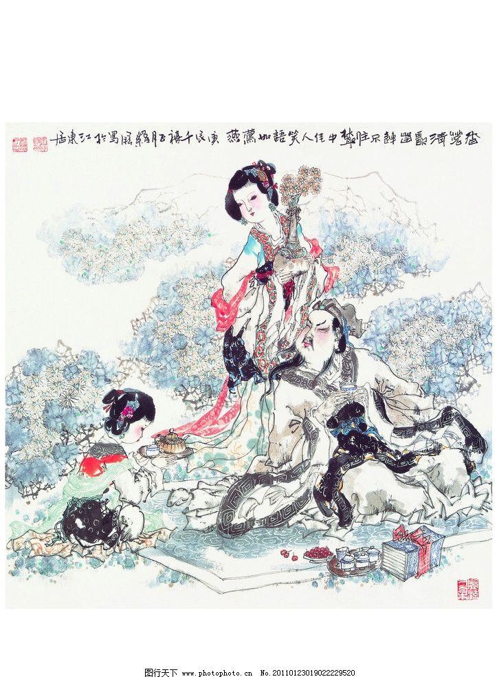 古典美女字画 古典美女 字画 宫女 侍女 美女 贵妃 皇后 水墨画 李白