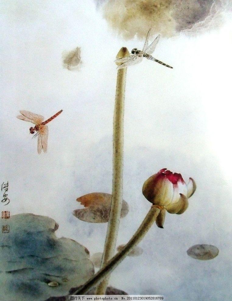 荷叶 荷花 中国工笔画 蜻蜓 夏荷 美术 国画 水墨画 彩墨画 荷花国画