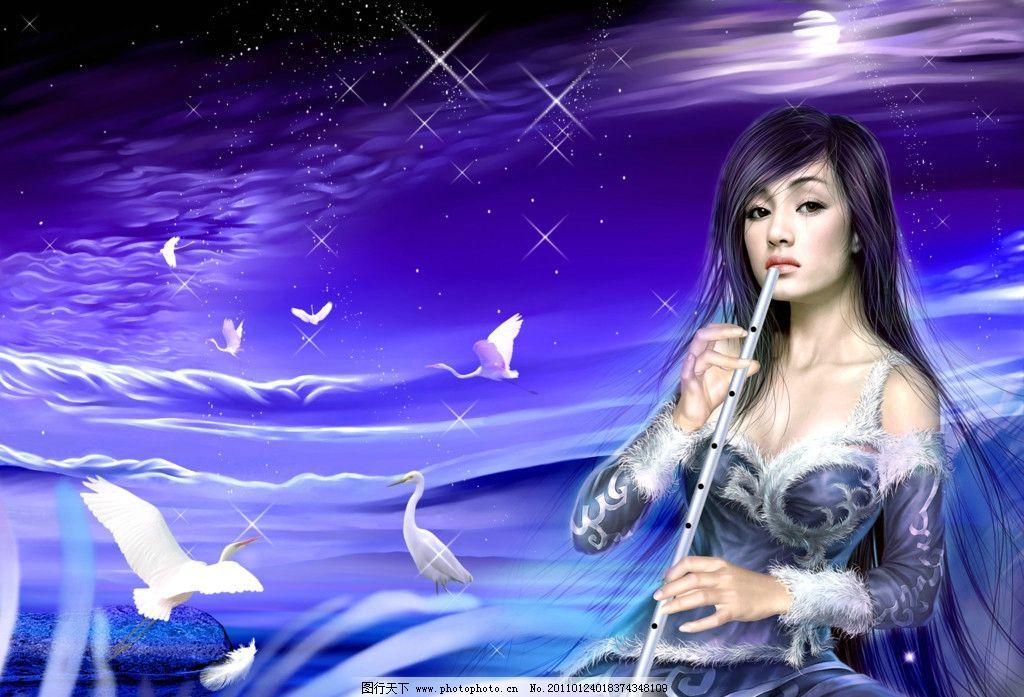 美女 动画 吹笛 动漫人物 动漫动画 设计 72dpi jpg