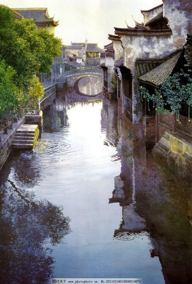 江南水乡 古代建筑 民房 老房子 实真油画 油画风景 石拱桥 乡村风景
