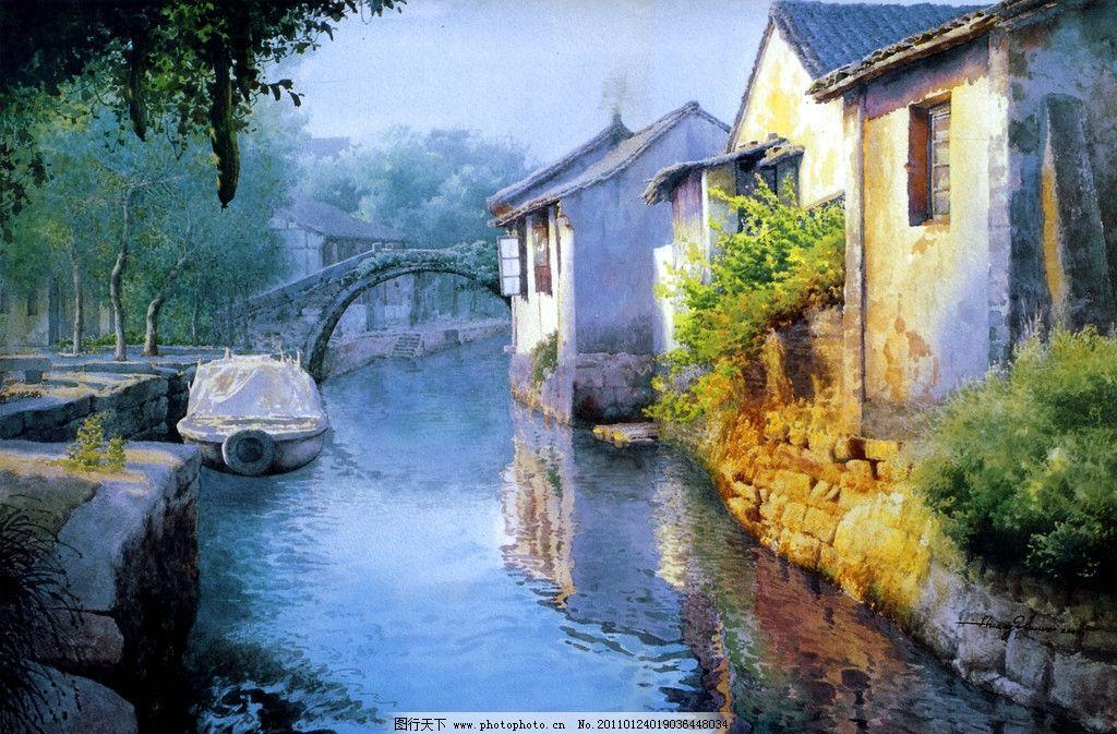 江南水乡 古代建筑 民房 老房子 实真油画 油画风景 石拱桥 绘画书法