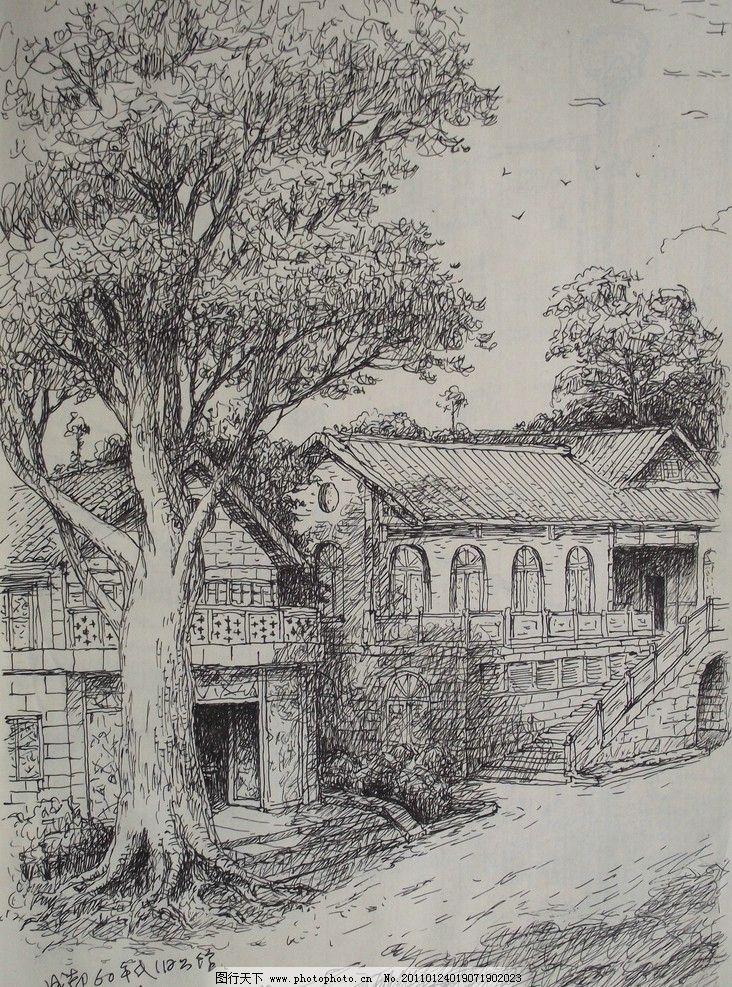 钢笔画 成都60年代时旧公馆 成都 60年代 旧公馆 建筑 大树 石梯 道路
