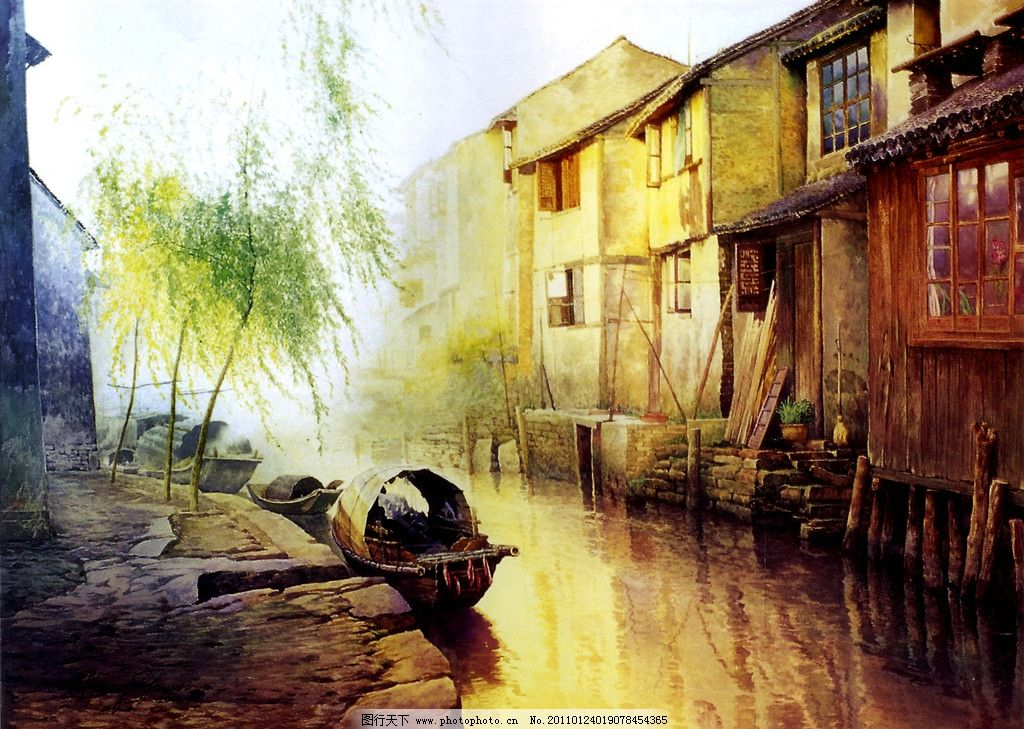 江南水乡 古代建筑 民房 老房子 实真油画 油画风景 小舟渔船 乡村