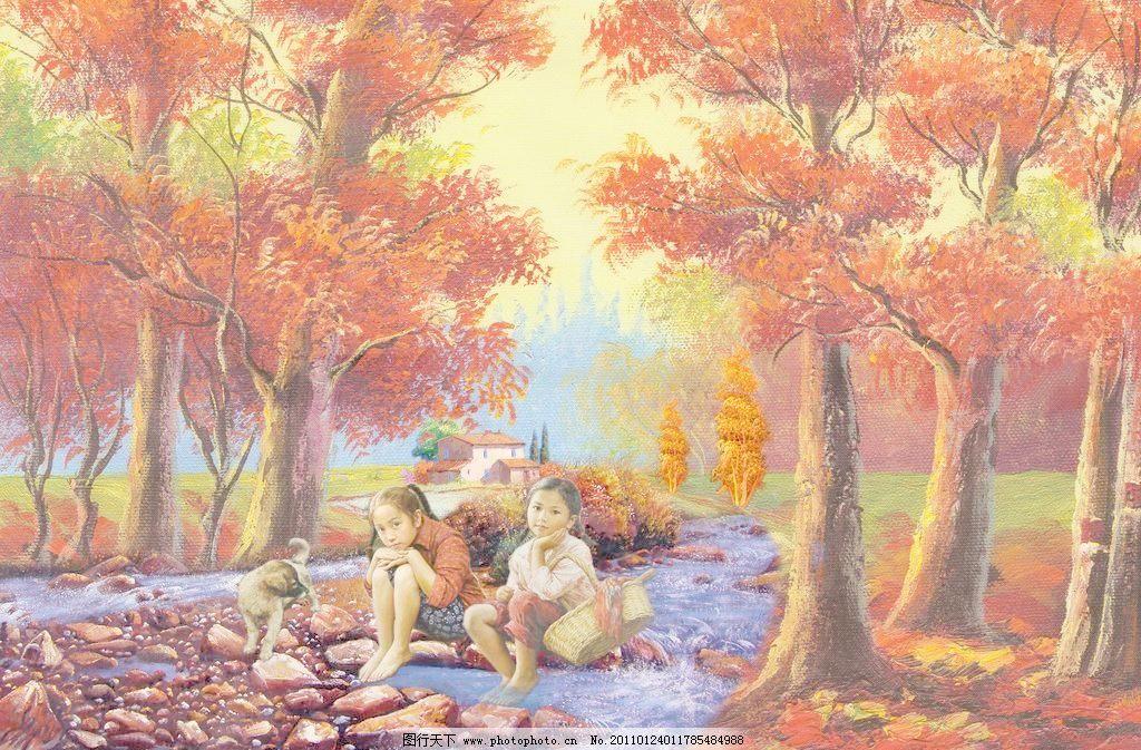 油画风景图片,碧水 朝霞 村庄 房子 风景画 风景油画