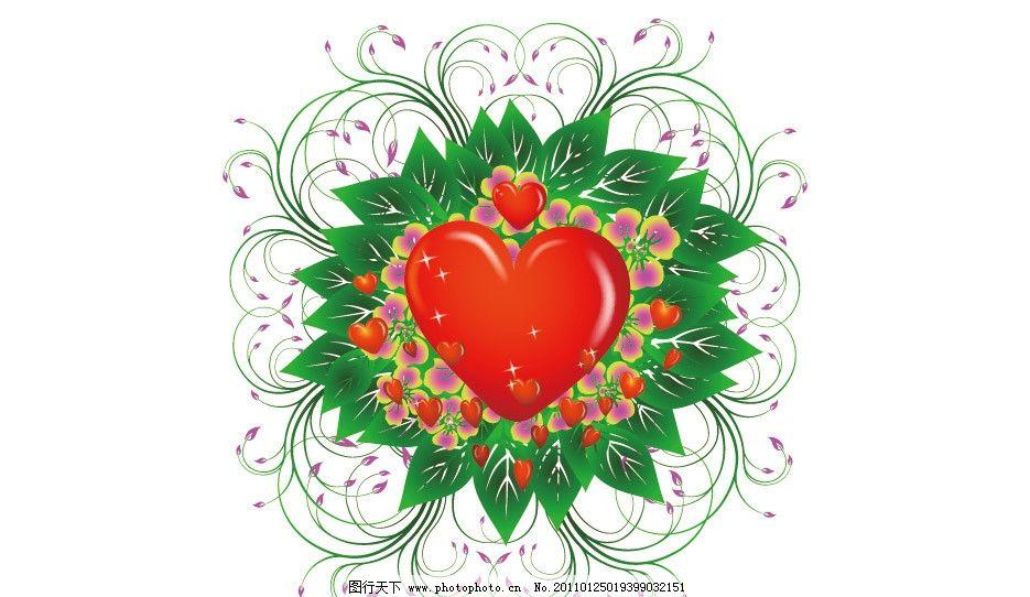 绿色线条花纹爱心背景图片