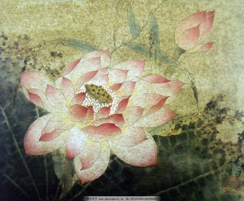 荷叶 荷花 夏荷 荷塘 中国工笔画 美术国画 水墨画 彩墨画 荷花国画
