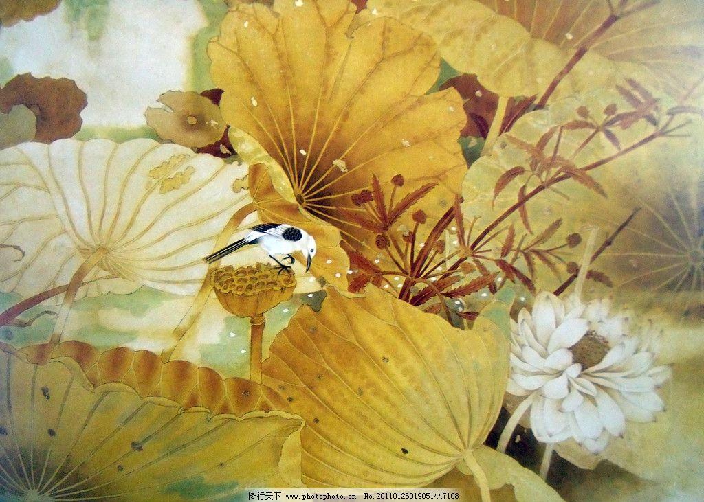 荷叶 荷花 夏荷 荷塘 水鸟 中国工笔画 美术国画 水墨画 彩墨画 荷花