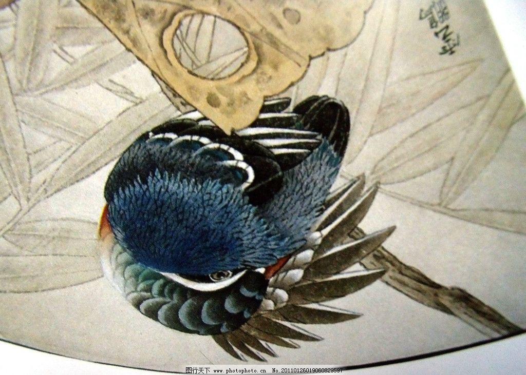 翠鸟 荷塘翠鸟 荷叶枯败 中国工笔画 美术国画 水墨画 彩墨画 荷花
