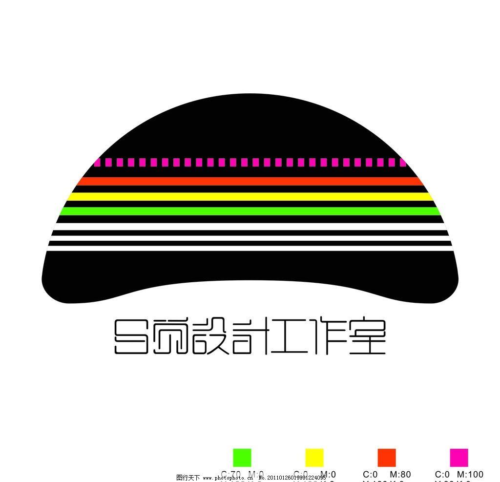 工作室 蘑菇 彩条 字体 标志 设计感 企业logo标志 标识标志图标 矢量