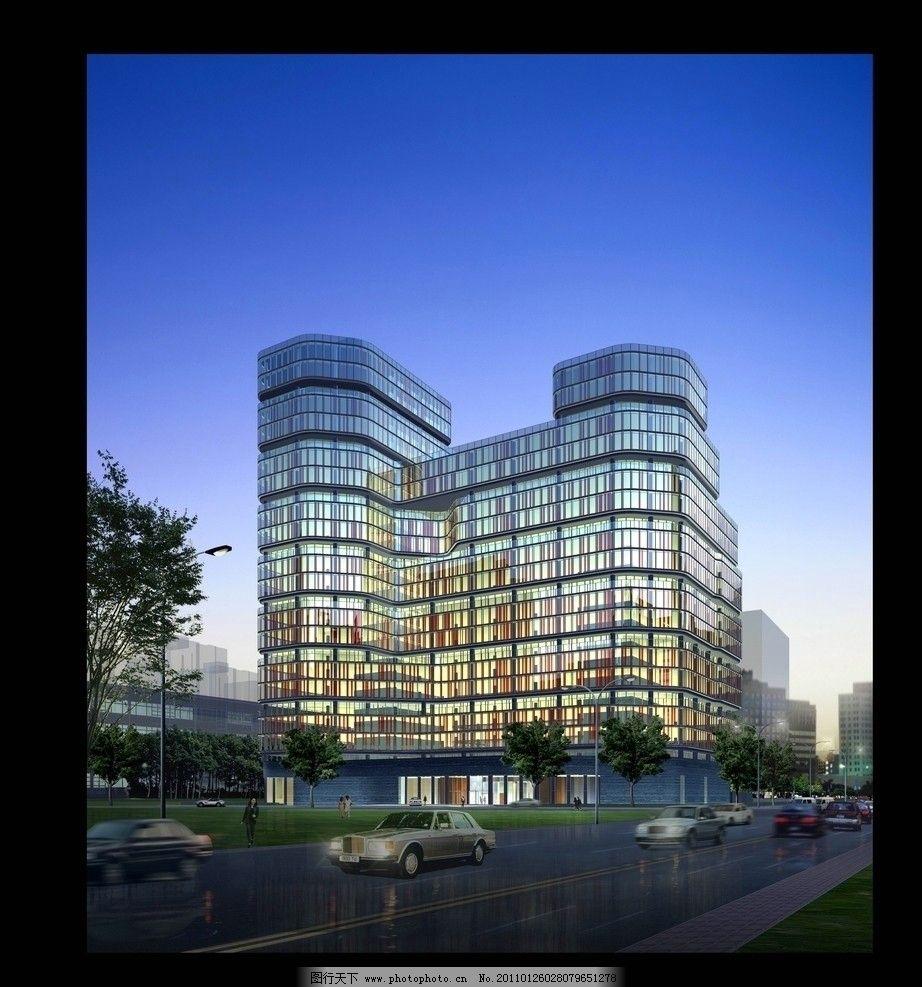 高楼夜景 3d        楼房 房地产 房子 高楼 高楼大厦 树 夜景 建筑