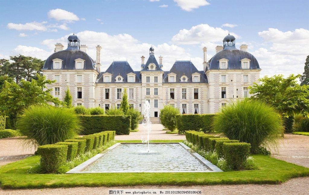 古堡城堡风景 城堡 古堡 别墅 蓝天 白云 草地 草坪 公园 花园 树木