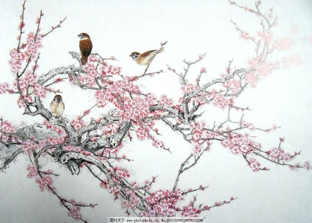 国画花鸟 梅花 中国工笔画 美术国画 水墨画 彩墨画 绘画书法 文化