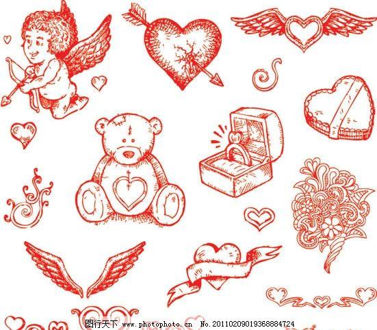 情人节矢量素材 情人节 七夕 欧式情人节 美丽情人节 手绘 丘比特 爱神 丝带 玩具熊 音符 戒指 礼盒 翅膀 花纹 花边 红桃心 红心 心形 心 桃心 爱心 爱意 恋人 情人 图案心 婚礼 婚庆 喜庆 矢量素材 EPS 节日素材 矢量