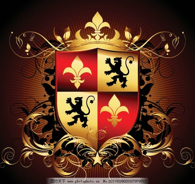 欧式花纹边框 华丽 花边 金色 盾牌 翅膀 皇冠 相框 底纹 丝带