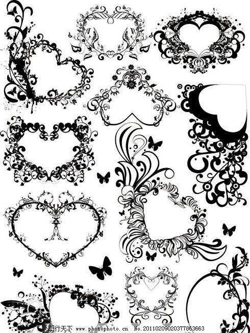 心形花纹花边矢量素材图片,蝴蝶 黑白 欧式 古典 传统