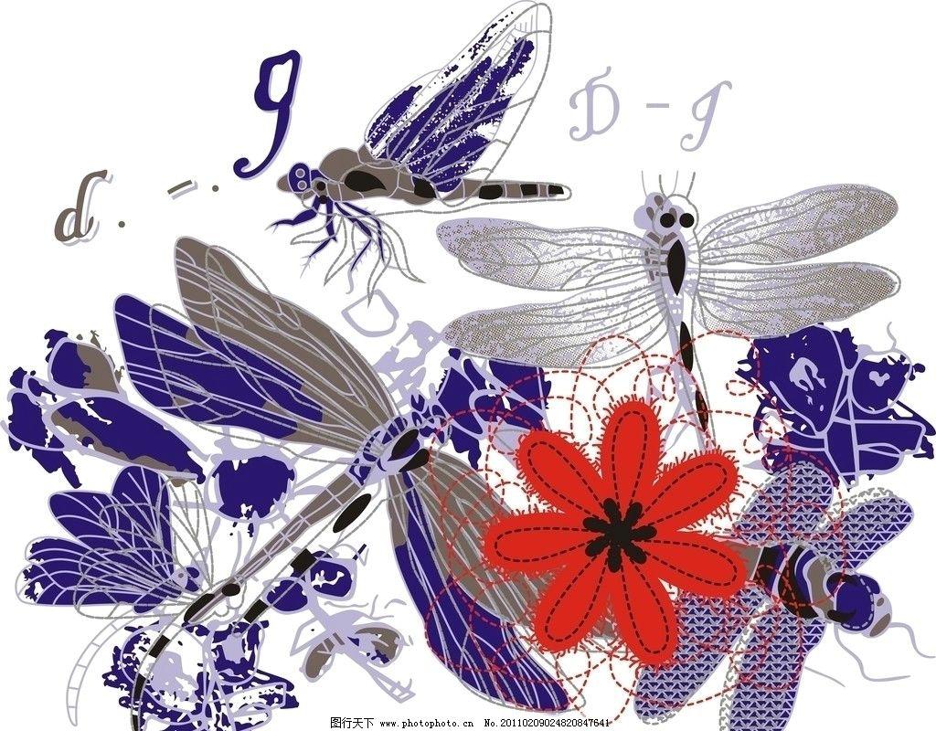 蜻蜓 花 小蜻蜓 矢量图