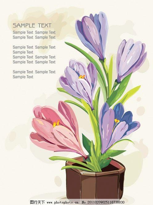 一盆花矢量素材 盆花 盆景 花朵 花卉 鲜花 一盆花 植物 矢量素材