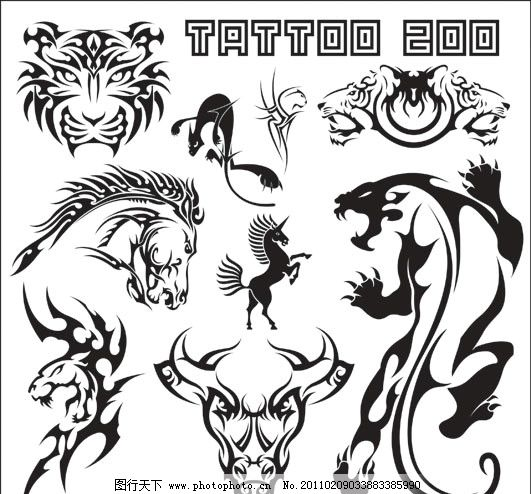 纹身图案矢量素材 纹身 老虎 马 牛 狮子 图腾 线条 花纹 纹样 花边