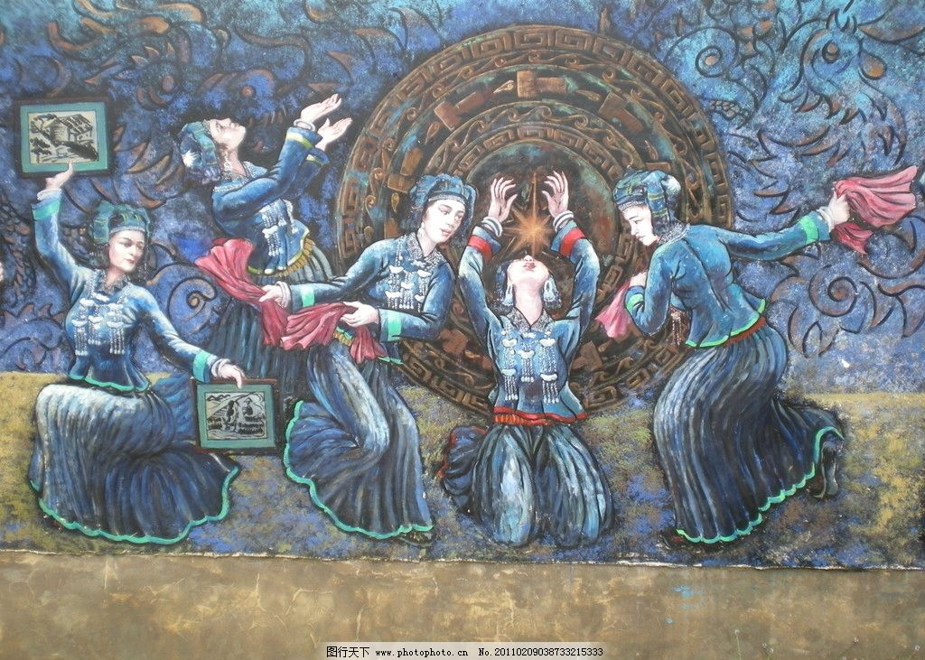 版画 舞蹈 壮族 壮族服饰 油画 古典 中式古典 美术绘画 摄影