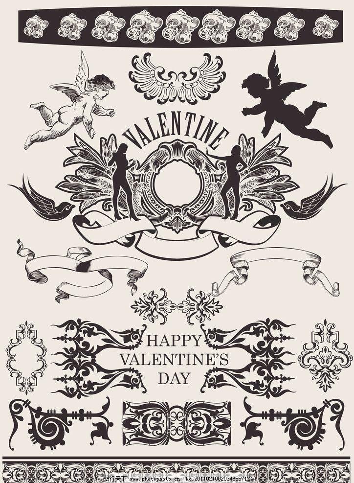 古典花纹花边边框 小天使 古典花纹 古典花边 欧式古典花纹 人物剪影