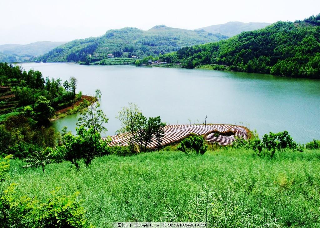 汉阴 观音河 美丽风景 风景模板 风景 树木 草地 蓝天 白云 河水 山水